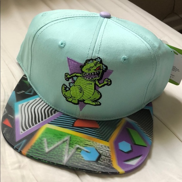 new style 53ffd c3d76 Reptar retro 80s hologram snapback hat Nickelodeon